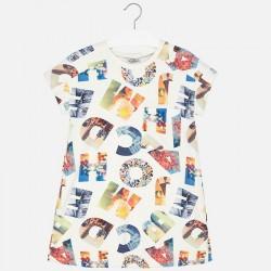 Mayoral 6953-51 Krótka sukienka z nadrukiem w litery i kieszonką dla dziewczynki