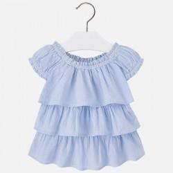 Mayoral 3183-73 Dziewczęca bluzka z krótkim rękawem w kratkę vichy z falbankami