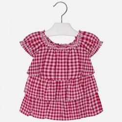 Mayoral 3183-72 Dziewczęca bluzka z krótkim rękawem w kratkę vichy z falbankami