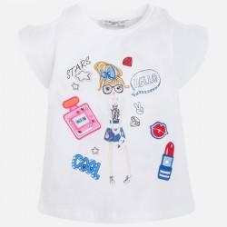 Mayoral 3079-71 Dziewczęca koszulka z krótkim rękawem z wycięciami i brokatem
