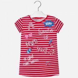 Mayoral 3992-85 Sukienka w paski i haftowanymi detalami dla dziewczynki