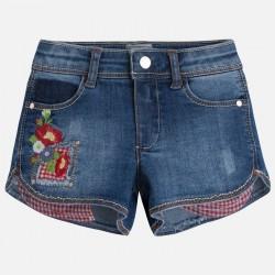 Mayoral 3275-74 Jeansowe szorty z kieszonką dla dziewczynki