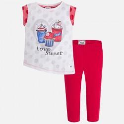 Mayoral 3541-58 Spodnie rybaczki i koszulka z asymetrycznym dołem dla dziewczynki