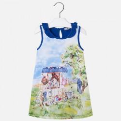 Mayoral 3996-39 Sukienka bez rękawów dla dziewczynki z falbanką przy szyi