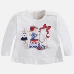 Mayoral bluzka 2005-60 Koszulka z długim rękawem i haftowaną aplikacją dla dziewczynki