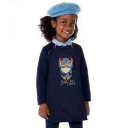 Mayoral sukienka 4961-43 z dzianiny drapanej dla dziewczynki z długim rękawem