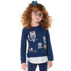 Mayoral 4733-48 Komplet dziewczęcy ze sweterkiem o koszulowym dole i leginsami