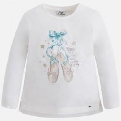 Mayoral bluzka 4061-71 buciki z długim rękawem dla dziewczynki z brokatem