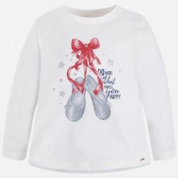 Mayoral bluzka 4061-72 buciki z długim rękawem dla dziewczynki z brokatem