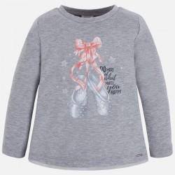 Mayoral bluzka 4061-74 buciki z długim rękawem dla dziewczynki z brokatem