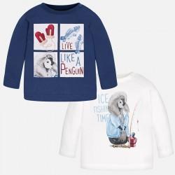 Mayoral bluzki 2125-43 dwie chłopięce koszulki z długim rękawem