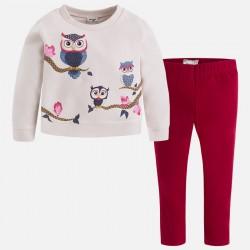 Mayoral 4733-51 Komplet dziewczęcy ze sweterkiem o koszulowym dole i leginsami