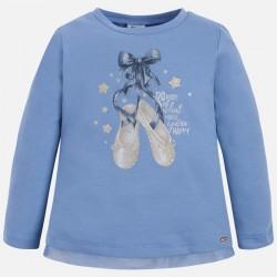 Mayoral bluzka 4061-75 buciki z długim rękawem dla dziewczynki z brokatem