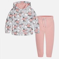 Mayoral dres 4813-11 z bluzą we wzory z kapturem dla dziewczynki