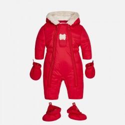 Mayoral kombinezon 2611-98 Niemowlęcy z futerkiem kolor czerwony