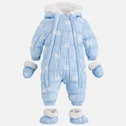 Mayoral kombinezon 2613-31 Niemowlęcy misie z futerkiem dla chłopca kolor błękitny