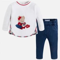 Mayoral komplet 2547-11 z długimi spodniami z dzianiny drapanej dla dziewczynki