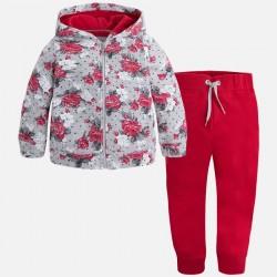 Mayoral dres 4813-12 z bluzą we wzory z kapturem dla dziewczynki