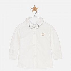 Mayoral koszula 2107-75 ecri z długim rękawem z muszką dla chłopca