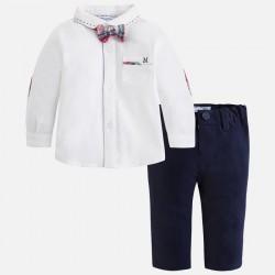 Mayoral komplet 2537-29 Zestaw z długimi spodniami i koszulą z muszką dla chłopca