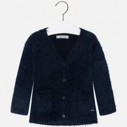 Mayoral sweter 4333-19 Włochaty rozpinany dla dziewczynki z trykotu