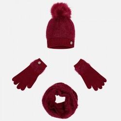 Mayoral komplet 10324-48 dla dziewczynki czapka z pomponem, szalik i rękawiczki