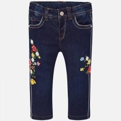 Mayoral Długie spodnie 1524-46 jeansowe dla dziewczynki z haftami