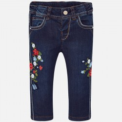 Mayoral Długie spodnie 1524-47 jeansowe dla dziewczynki z haftami