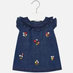 Mayoral Sukienka 1946-05 jeansowa dla dziewczynki baby z haftami