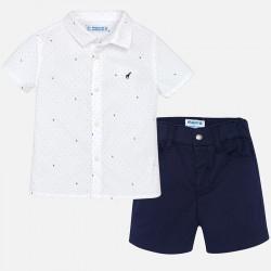 Mayoral komplet 1297-97 dla chłopca baby z koszulą we wzory i bermudami