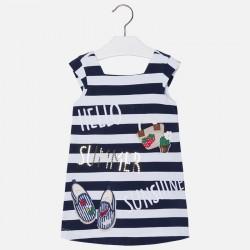 Mayoral Sukienka 3999-24 z kokardką i plisą na plecach dla dziewczynki
