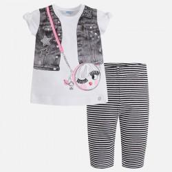 Mayoral komplet 3520-94 z piratkami, koszulką i torebką dla dziewczynki