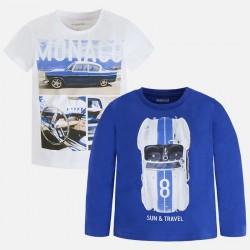 Mayoral Komplet 3098-10 Zestaw 2 koszulek z krótkim i długim rękawem dla chłopca
