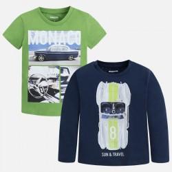 Mayoral Komplet 3098-11 Zestaw 2 koszulek z krótkim i długim rękawem dla chłopca
