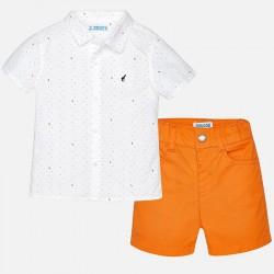 Mayoral komplet 1297-95 dla chłopca baby z koszulą we wzory i bermudami