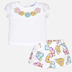 Mayoral komplet 1262-79 z bermudami i koszulką dla dziewczynki baby
