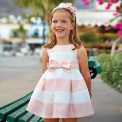 Mayoral Sukienka 3922-44 satynowa z zakładkami dla dziewczynki
