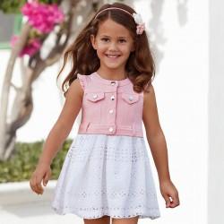 Mayoral Sukienka 3976-29 z motywem ażurowym dla dziewczynki
