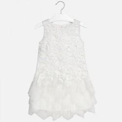 Mayoral Sukienka 6938-18 z gładkim oraz haftowanym tiulem dla dziewczynki