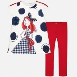 Mayoral Komplet 6712-12 dla dziewczynki z koszulką i dzianinowymi leginsami