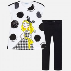 Mayoral Komplet 6712-10 dla dziewczynki z koszulką i dzianinowymi leginsami