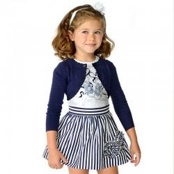 Mayoral komplet 3995-53 dziewczęcy z satynową spódnicą i koszulką
