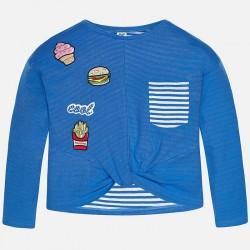 Mayoral 6437-10 Bluza z kieszonką i naszywkami dla dziewczynki