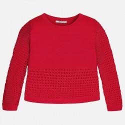 Mayoral 6313-71 Dziewczęcy sweter z siateczkowym dołem