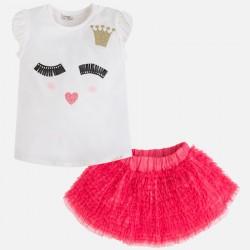 Mayoral 3990-22 Spódnica z falbankami i koszulka z krótkim rękawem z printem