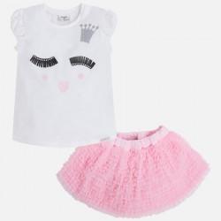 Mayoral 3990-20 Spódnica z falbankami i koszulka z krótkim rękawem z printem