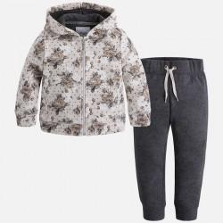 Mayoral dres 4813-10 z bluzą we wzory z kapturem dla dziewczynki