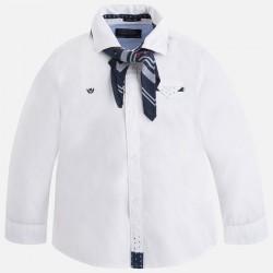 Mayoral biała koszula 4135-46 chłopięca z długim rękawem z chustą