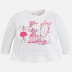 Mayoral bluzka 2005-61 Koszulka z długim rękawem i haftowaną aplikacją dla dziewczynki