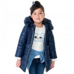Mayoral płaszcz 4473-60 Długa kurtka dla dziewczynki z kapturem